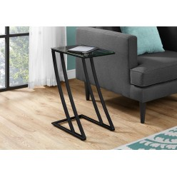 I-3089 Accent Table (black metal/tempered glass)