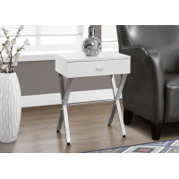 I-3262 Accent Table with drawer (white/metal chrome)
