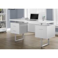 """I-7081 Computer desk - 60""""L (white/silver metal)"""