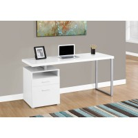 """I-7144 Computer Desk - 60""""L (white/silver metal)"""