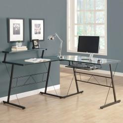 """I-7172 L-Shaped Computer Desk 42""""L (Tempered Glass / Black Metal)"""