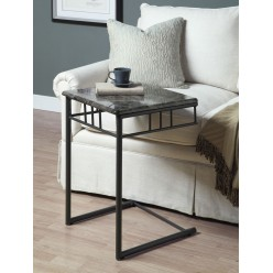 I-3063 Accent Table ( Grey Marble / Charcoal Metal )