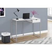 """I-7222 Computer Desk - 42""""L (white / silver metal)"""