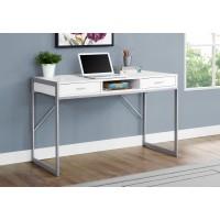 """I-7364 Computer Desk - 48 """"L (white/metal silver)"""