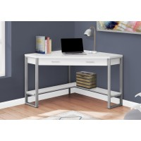"""I-7500 Computer Desk - 42""""L (white corner/silver metal)"""